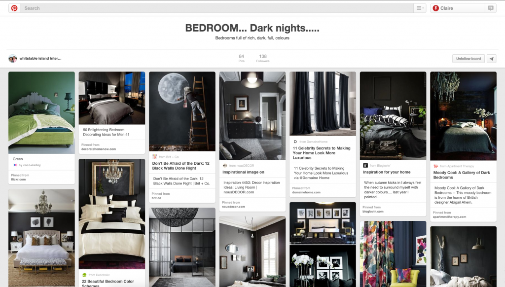 Bedroom Decor, Dark Coloured Bedroom, Home Decor